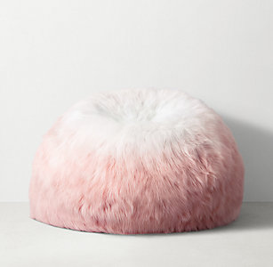 Ombré Kashmir Faux Fur Bean Bag Dusty Rose