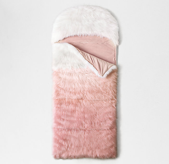 Ombré Kashmir Faux Fur Hooded Sleeping Bag - Dusty Rose 10d57c3e900e5