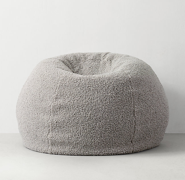 Fabulous Plush Faux Shearling Bean Bag Light Grey Ibusinesslaw Wood Chair Design Ideas Ibusinesslaworg